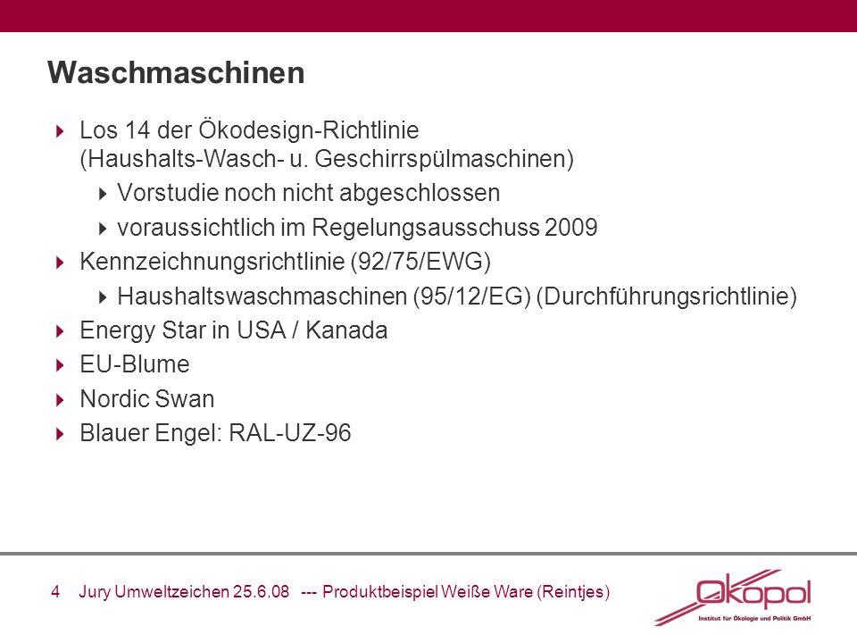 5 Jury Umweltzeichen 25.6.08 --- Produktbeispiel Weiße Ware (Reintjes) Anforderungen der Instrumente: Waschmaschinen 2007 RAL-UZ-96 (2003) EbP-Direktive (Vorstudie)1999 2008 Schadstoffe Plastik: keine CMR, Flammschutzmittel eingeschränkt, Lacke (VOC, Schwermetalle), Dämmstoffe Für Plastik (> 25g): keine CMR, Flammschutzmittel eingeschränkt + keine Schwermetalle (Cd, Pb, Hg) Materialverbrauch Wasserverbrauch 30 Liter/ft³ Wasserverbrauch 11 L/kg Wasserverbrauch 13 L/kg Wasserverbrauch 12 L/kg 16 L/kg Energieverbrauch 1.72 ft³/(kWh/cycle)A (95/12/EC), Standby 5 W, Offmode 1 W B oder A (95/12/EC) power managment 0.17 kWh/kg 0.19 kWh/kg oder 0.23 kWh/kg falls nicht unter Energy Label Scheme Geräusch- entwicklung 52 dB, 73 dB beim Schleudern 56 dB, 76 dB beim Schleudern Entsorgung Rücknahmeverpflichtung Sonstiges Verbraucherinformationen, Ersatzteile, Schleuderklasse A oder B, Waschwirkung A Verbraucherinformationen, Waschwirkung B (oder A) Verbraucherinformationen, Ersatzteile, Schleuderklasse A oder B, Waschwirkung A oder B