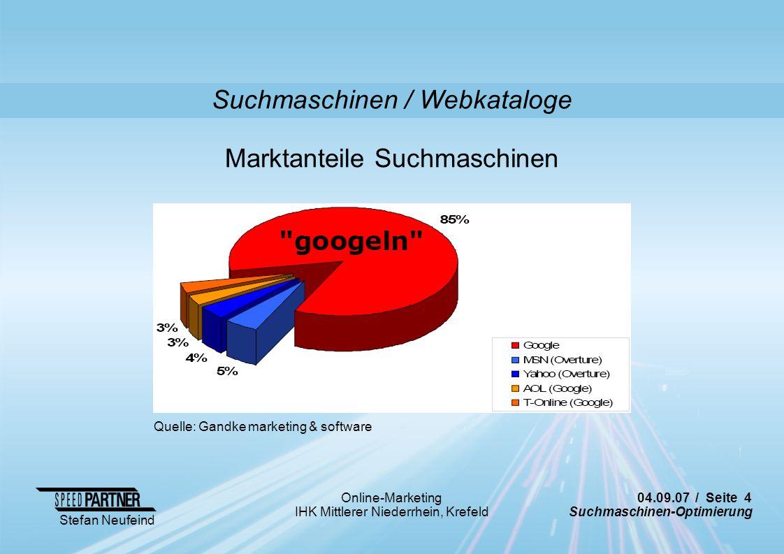 04.09.07 / Seite 4 Suchmaschinen-Optimierung Stefan Neufeind Online-Marketing IHK Mittlerer Niederrhein, Krefeld Suchmaschinen / Webkataloge Quelle: G
