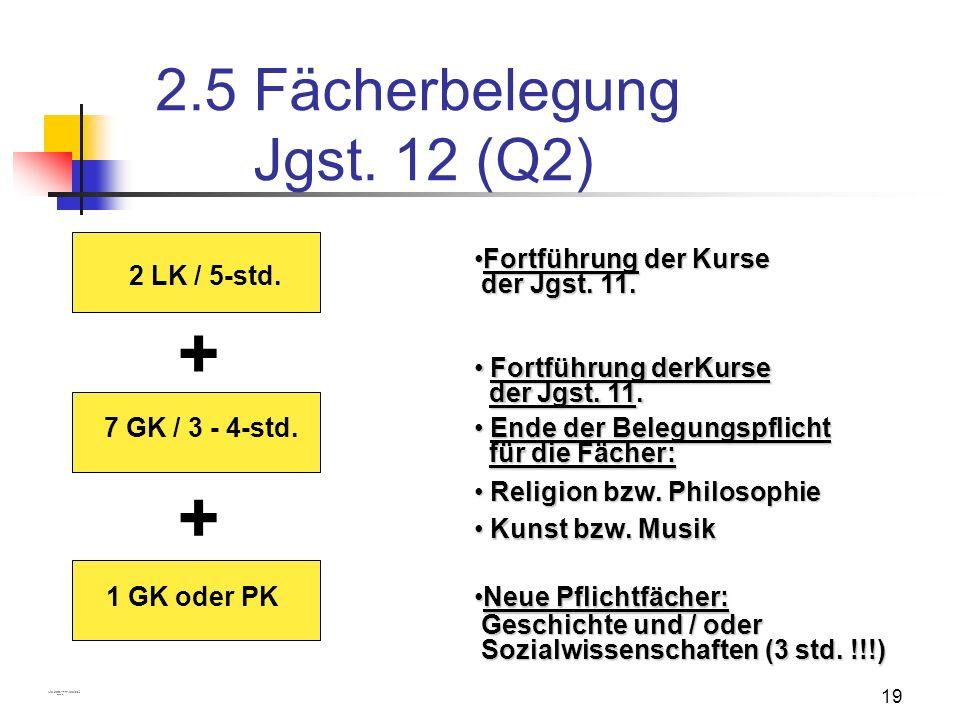 19 2.5 Fächerbelegung Jgst. 12 (Q2) 2 LK / 5-std. 7 GK / 3 - 4-std. + Fortführung der KurseFortführung der Kurse der Jgst. 11. der Jgst. 11. Fortführu