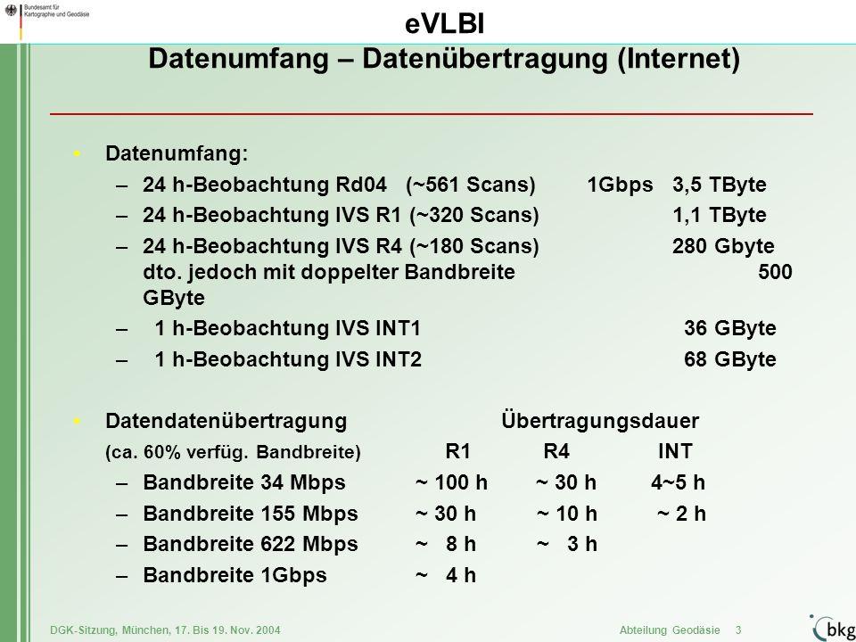 DGK-Sitzung, München, 17. Bis 19. Nov. 2004 Abteilung Geodäsie 3 eVLBI Datenumfang – Datenübertragung (Internet) Datenumfang: –24 h-Beobachtung Rd04 (