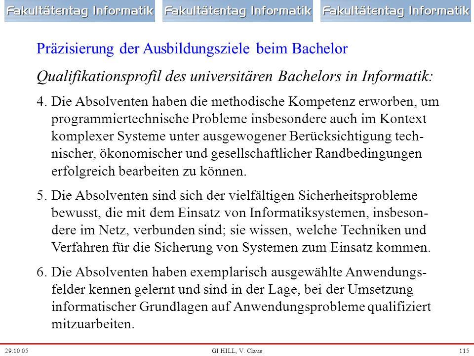 29.10.05GI HILL, V. Claus114 Qualifikationsprofil des universitären Bachelors in Informatik: 1.Die Absolventen beherrschen die mathematischen und info