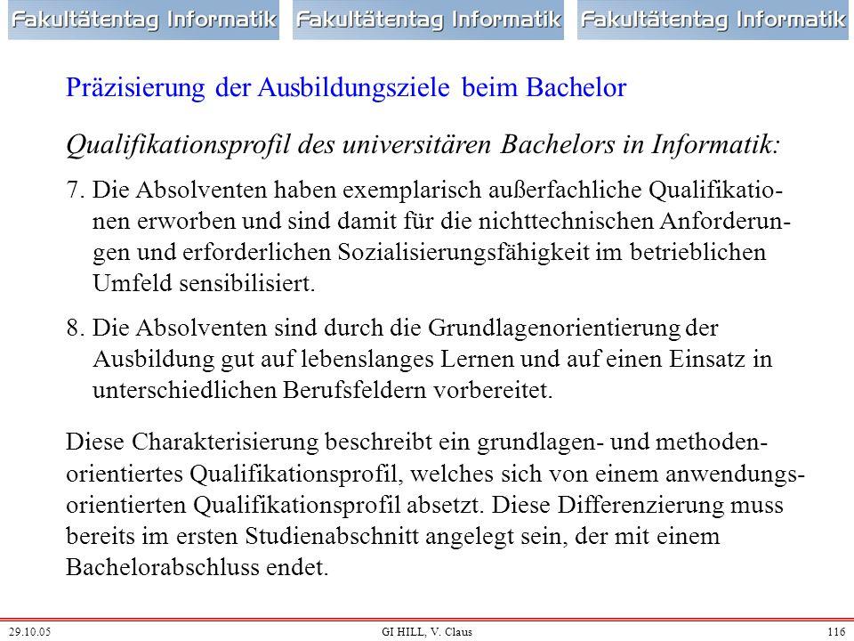 29.10.05GI HILL, V. Claus115 Qualifikationsprofil des universitären Bachelors in Informatik: 4.Die Absolventen haben die methodische Kompetenz erworbe
