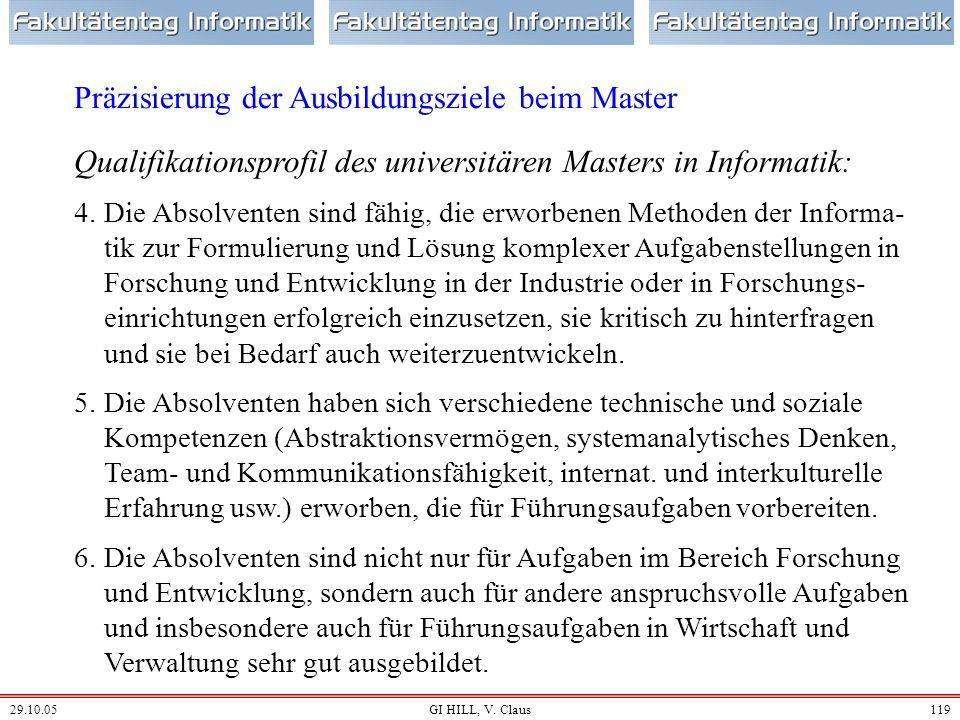 29.10.05GI HILL, V. Claus118 Qualifikationsprofil des universitären Masters in Informatik: 1.Die Absolventen haben die Ausbildungsziele des Bachelor-