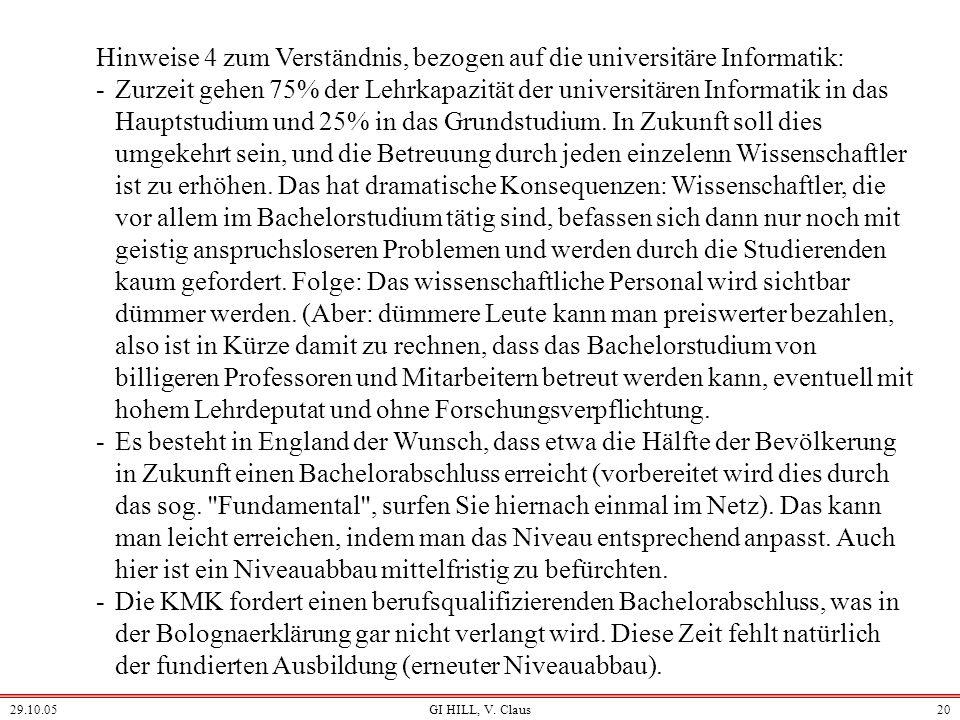 29.10.05GI HILL, V. Claus19 Hinweise 3 zum Verständnis, bezogen auf die universitäre Informatik: -Im Ausland erfolgen Anerkennungen meist nur lokal du