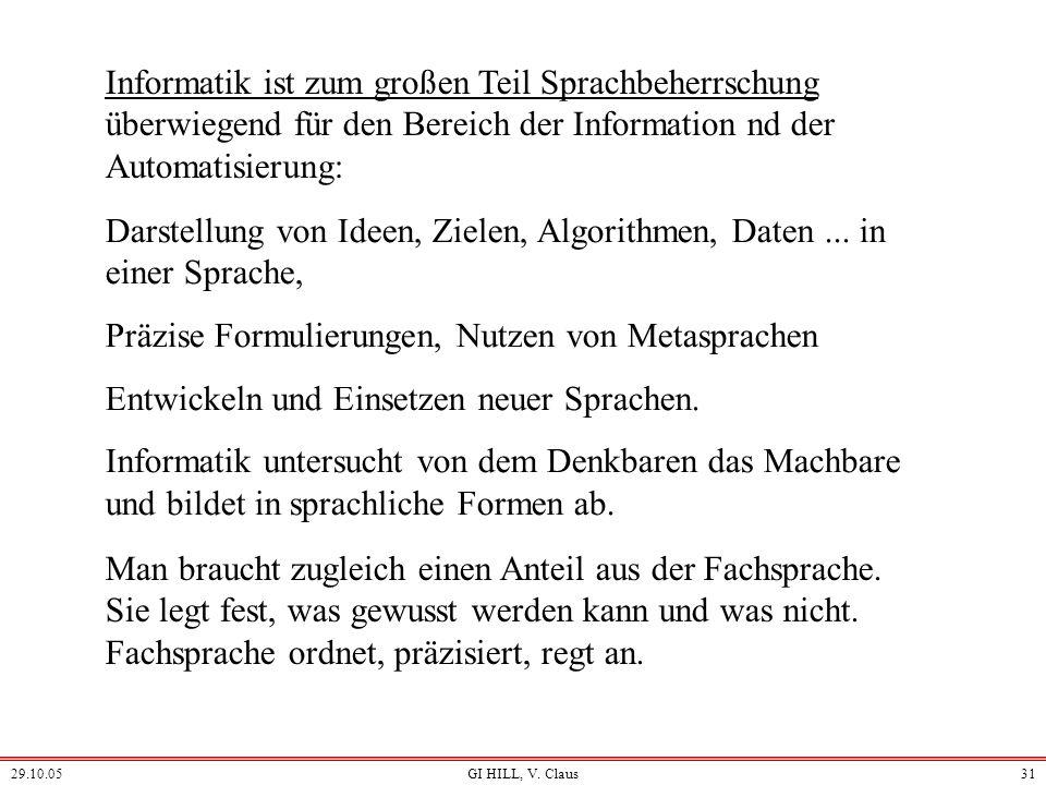 29.10.05GI HILL, V. Claus30 Wissenschafts-Bereiche Geisteswissenschaften Humanwissenschaften Gesellschaftswissenschaften Kulturwissenschaften Lebenswi