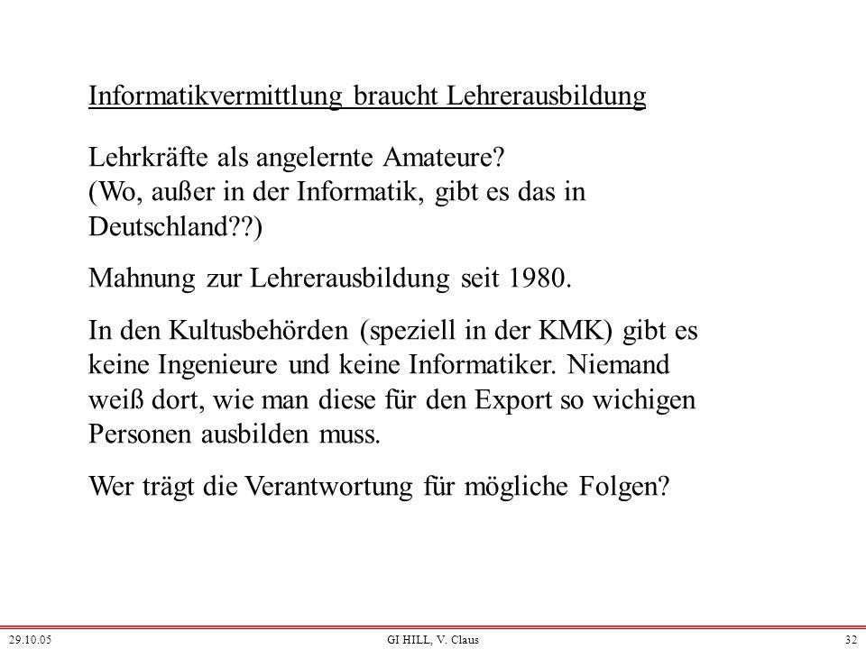 29.10.05GI HILL, V. Claus31 Informatik ist zum großen Teil Sprachbeherrschung überwiegend für den Bereich der Information nd der Automatisierung: Dars