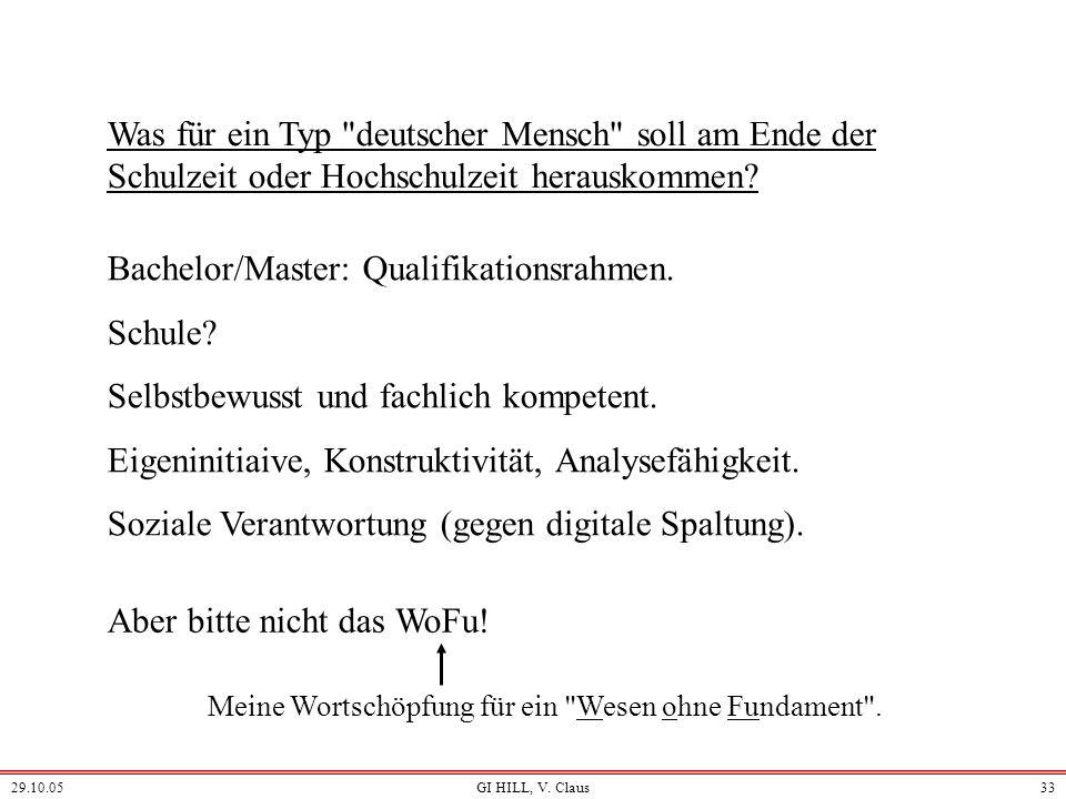 29.10.05GI HILL, V. Claus32 Informatikvermittlung braucht Lehrerausbildung Lehrkräfte als angelernte Amateure? (Wo, außer in der Informatik, gibt es d