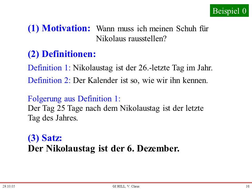 29.10.05GI HILL, V. Claus37 Klassische Informatik (am Beispiel) Man sagt: klassische Informatik ist analytisch. Man sagt, ihre Vermittlung orientiert