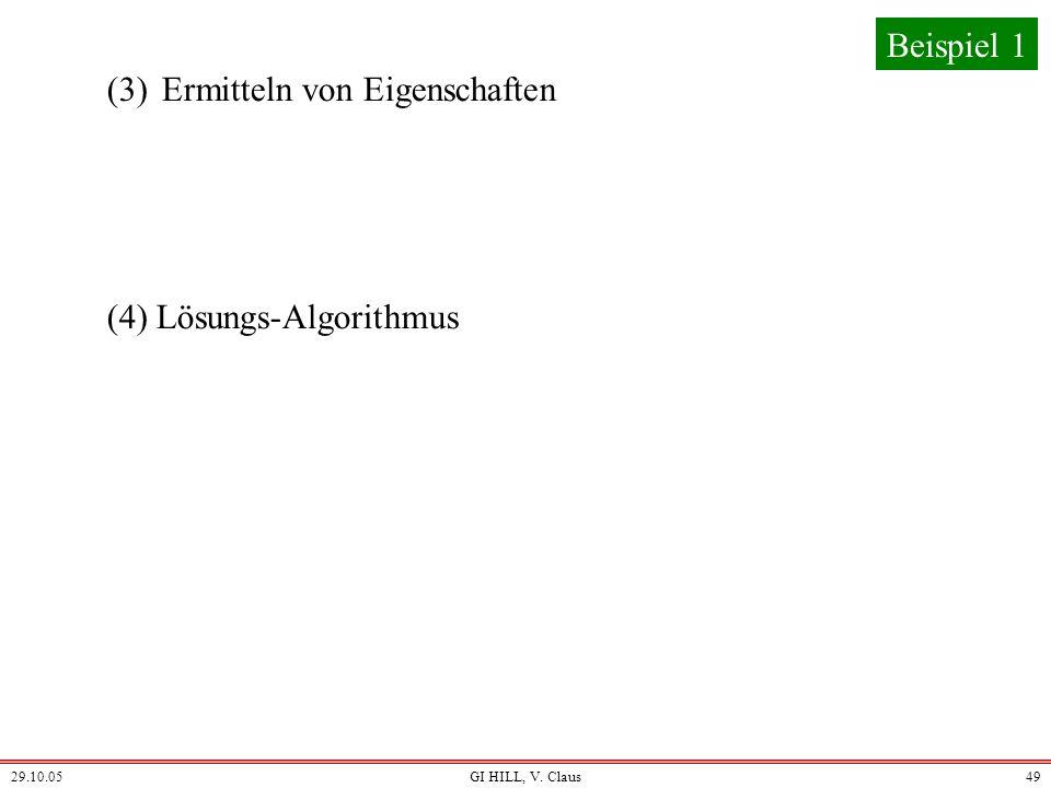 29.10.05GI HILL, V. Claus48 (z1, n1) + (z2, n2) = (z1. n2+z2. n1, n1. n2) Wichtig ist für uns nur die Addition der rationalen Zahlen:
