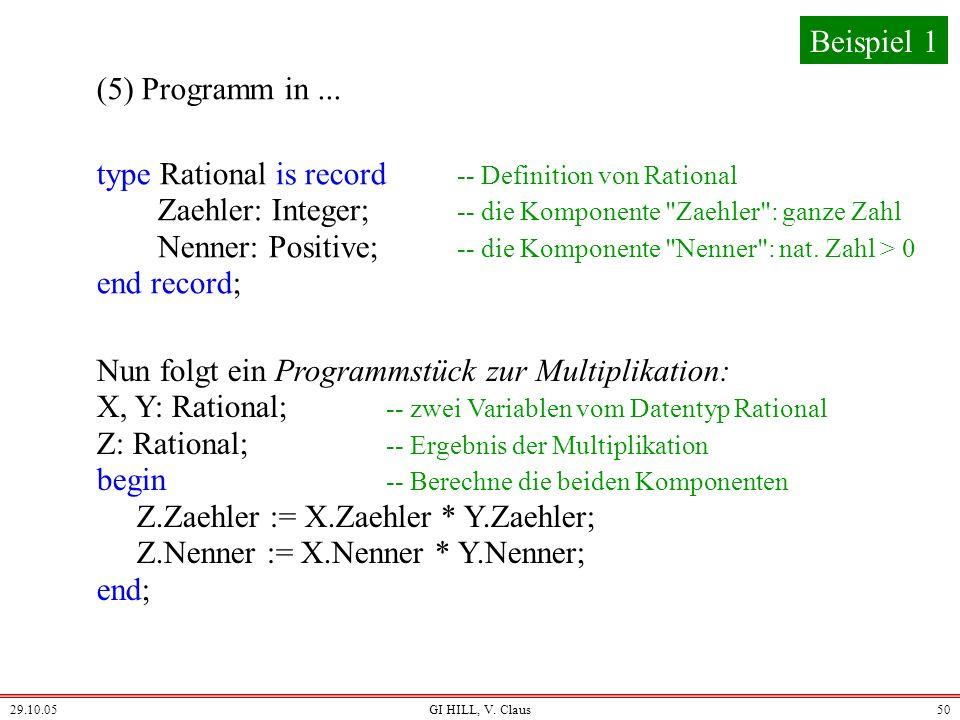 29.10.05GI HILL, V. Claus49 (3)Ermitteln von Eigenschaften (4) Lösungs-Algorithmus Beispiel 1