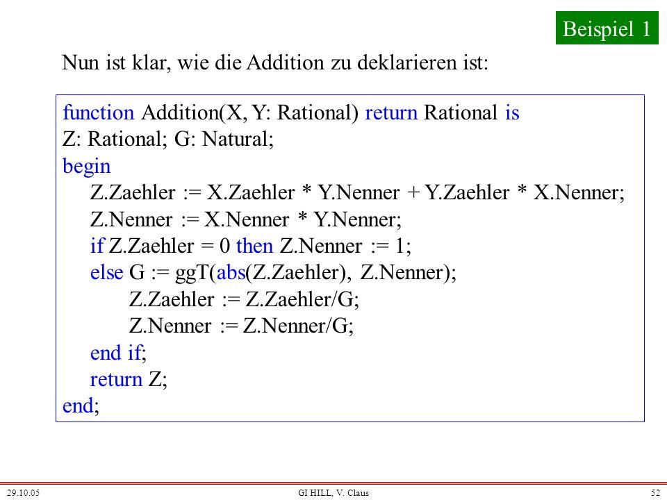 29.10.05GI HILL, V. Claus51 Wir brauchen die Funktion ggT: N 0 N 0 N 0, die zu zwei natürlichen Zahlen deren größten gemeinsamen Teiler liefert. Diese