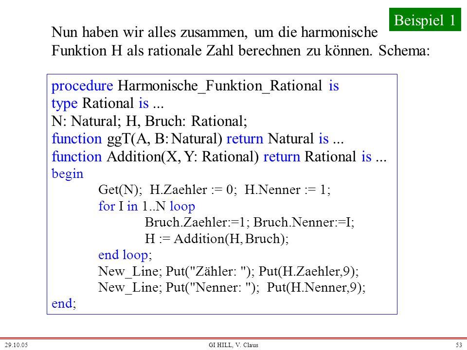 29.10.05GI HILL, V. Claus52 Nun ist klar, wie die Addition zu deklarieren ist: function Addition(X, Y: Rational) return Rational is Z: Rational; G: Na