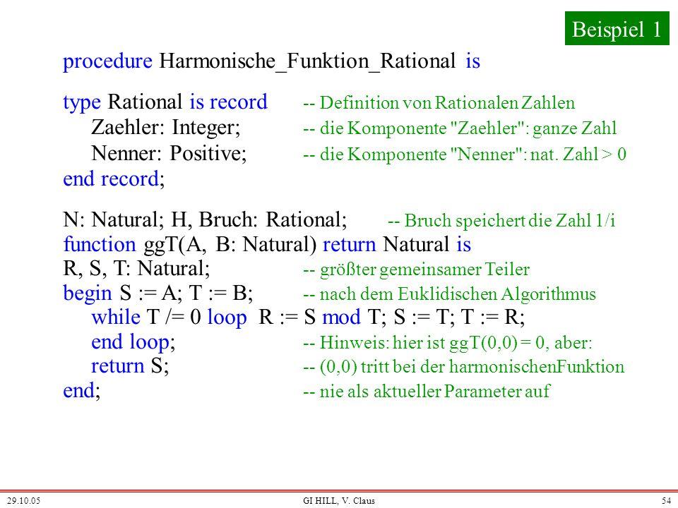 29.10.05GI HILL, V. Claus53 Nun haben wir alles zusammen, um die harmonische Funktion H als rationale Zahl berechnen zu können. Schema: procedure Harm