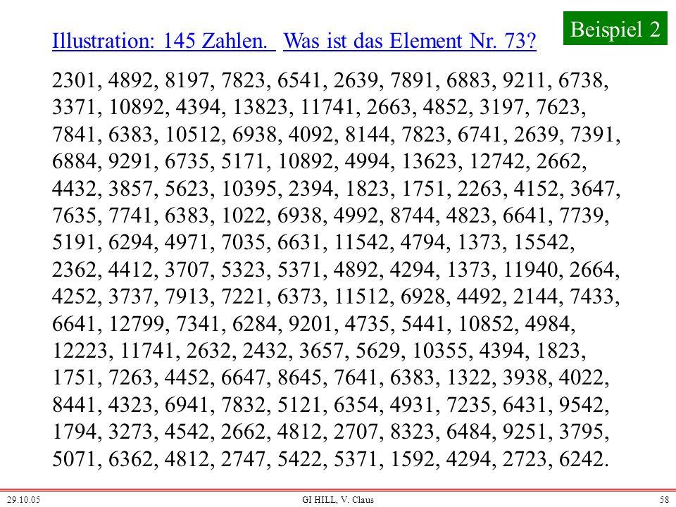 29.10.05GI HILL, V. Claus57 Problem: Finde zu n Zahlen das mittlere Element, also das Element, das nach dem Sortieren an der Stelle (n+1) div 2 steht.