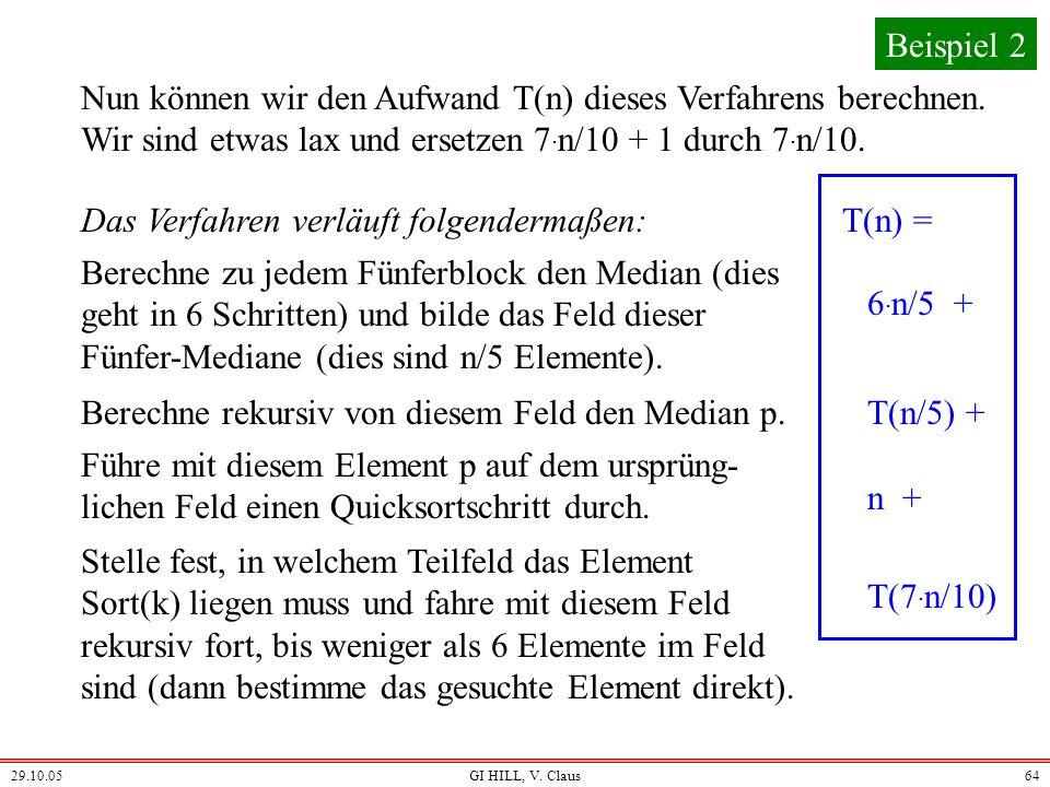 29.10.05GI HILL, V. Claus63 Behauptung: Nimmt man als Pivot-Element p den Median der Fünfer-Mediane, so besitzt nach dem Quicksortschritt jedes der Te