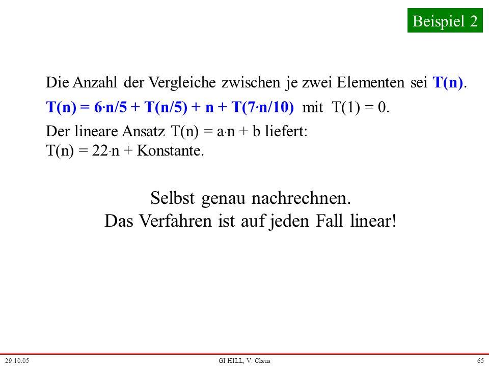 29.10.05GI HILL, V. Claus64 Nun können wir den Aufwand T(n) dieses Verfahrens berechnen. Wir sind etwas lax und ersetzen 7. n/10 + 1 durch 7. n/10. St