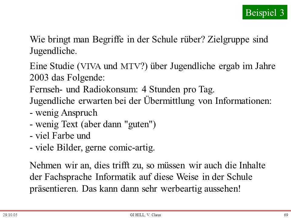29.10.05GI HILL, V. Claus68 Die Fachsprache gibt die Orientierung und die zu vermittelnden Begriffe und Denkweisen. Für die Umsetzung müssen die techn