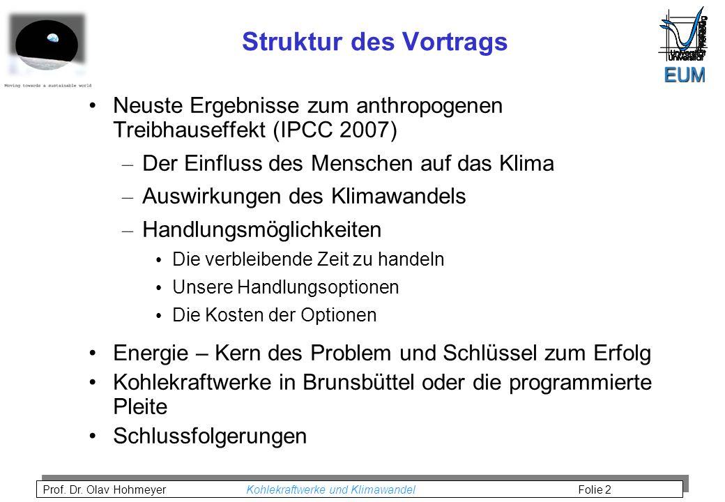 Prof. Dr. Olav Hohmeyer Kohlekraftwerke und Klimawandel Folie 2 Struktur des Vortrags Neuste Ergebnisse zum anthropogenen Treibhauseffekt (IPCC 2007)