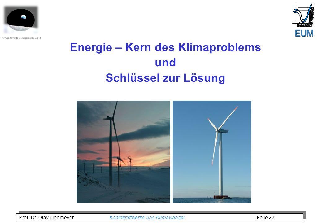 Prof. Dr. Olav Hohmeyer Kohlekraftwerke und Klimawandel Folie 22 Energie – Kern des Klimaproblems und Schlüssel zur Lösung