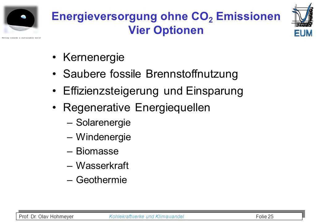 Prof. Dr. Olav Hohmeyer Kohlekraftwerke und Klimawandel Folie 25 Energieversorgung ohne CO 2 Emissionen Vier Optionen Kernenergie Saubere fossile Bren