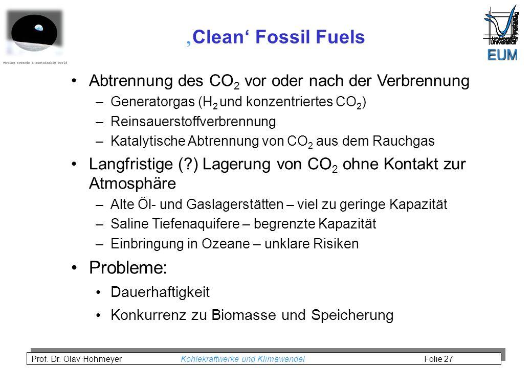 Prof. Dr. Olav Hohmeyer Kohlekraftwerke und Klimawandel Folie 27 Clean Fossil Fuels Abtrennung des CO 2 vor oder nach der Verbrennung –Generatorgas (H