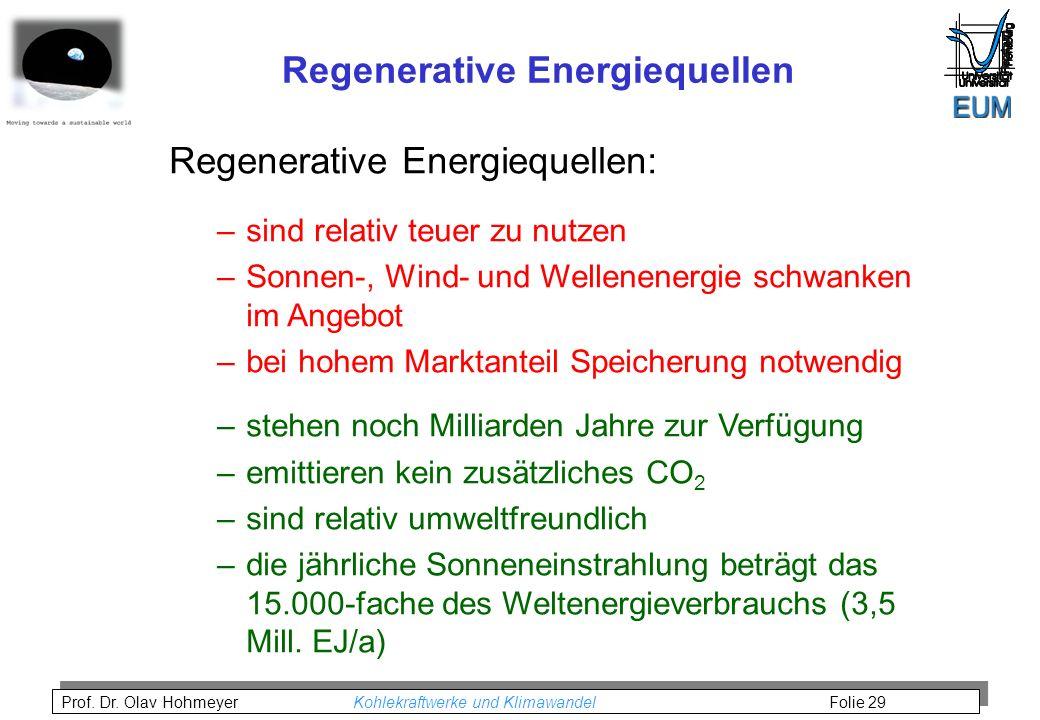Prof. Dr. Olav Hohmeyer Kohlekraftwerke und Klimawandel Folie 29 Regenerative Energiequellen Regenerative Energiequellen: –sind relativ teuer zu nutze