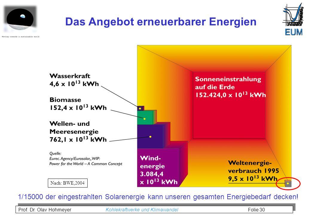Prof. Dr. Olav Hohmeyer Kohlekraftwerke und Klimawandel Folie 30 Nach: BWE,2004 Das Angebot erneuerbarer Energien 1/15000 der eingestrahlten Solarener