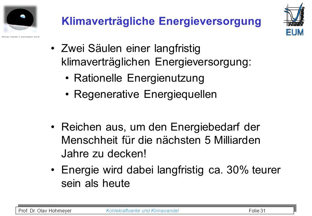 Prof. Dr. Olav Hohmeyer Kohlekraftwerke und Klimawandel Folie 31 Klimaverträgliche Energieversorgung Zwei Säulen einer langfristig klimaverträglichen