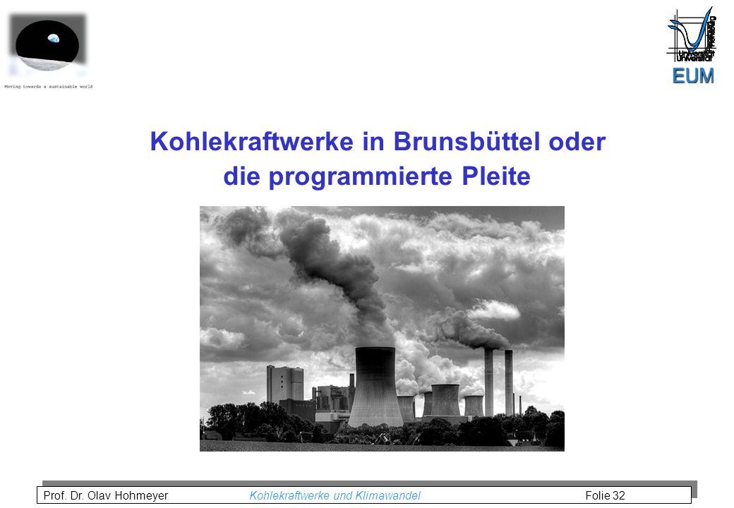 Prof. Dr. Olav Hohmeyer Kohlekraftwerke und Klimawandel Folie 32 Kohlekraftwerke in Brunsbüttel oder die programmierte Pleite