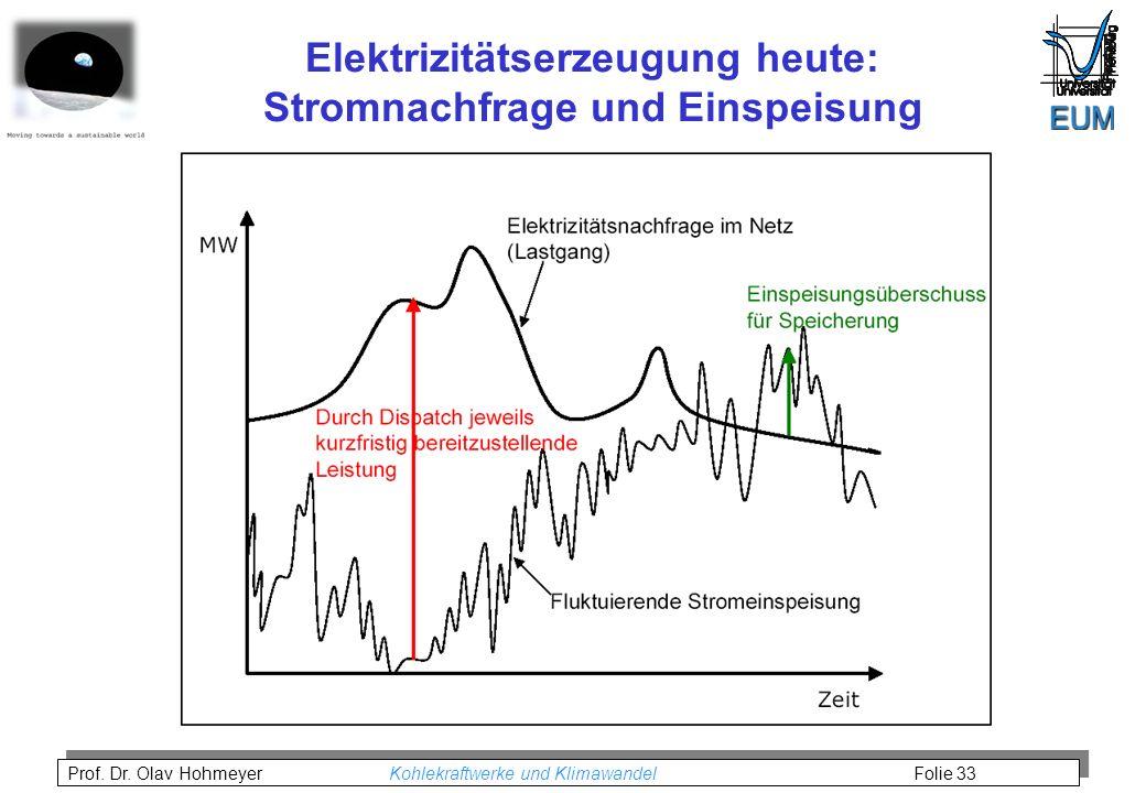 Prof. Dr. Olav Hohmeyer Kohlekraftwerke und Klimawandel Folie 33 Elektrizitätserzeugung heute: Stromnachfrage und Einspeisung