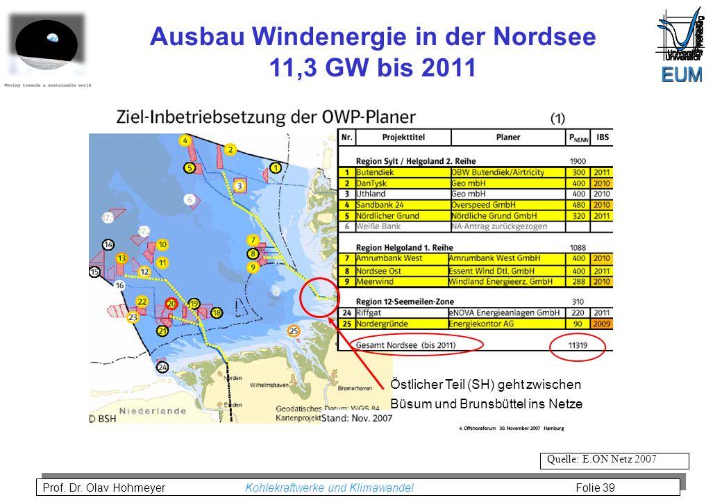 Prof. Dr. Olav Hohmeyer Kohlekraftwerke und Klimawandel Folie 39 Ausbau Windenergie in der Nordsee 11,3 GW bis 2011 Quelle: E.ON Netz 2007 Östlicher T