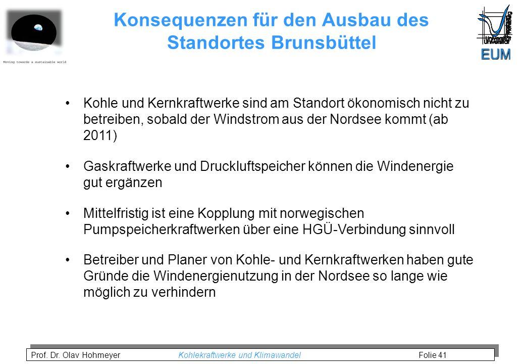 Prof. Dr. Olav Hohmeyer Kohlekraftwerke und Klimawandel Folie 41 Konsequenzen für den Ausbau des Standortes Brunsbüttel Kohle und Kernkraftwerke sind