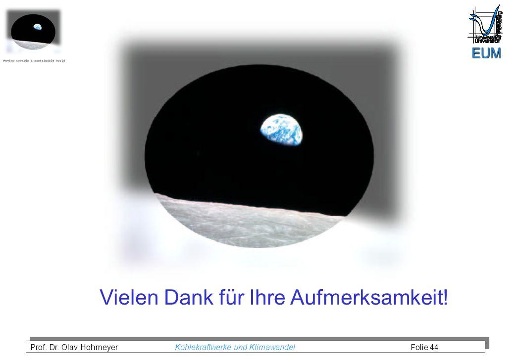 Prof. Dr. Olav Hohmeyer Kohlekraftwerke und Klimawandel Folie 44 Vielen Dank für Ihre Aufmerksamkeit!