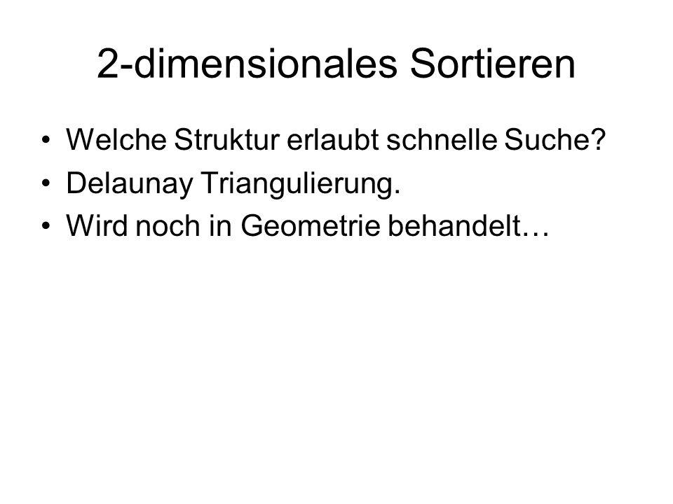 2-dimensionales Sortieren Welche Struktur erlaubt schnelle Suche? Delaunay Triangulierung. Wird noch in Geometrie behandelt…