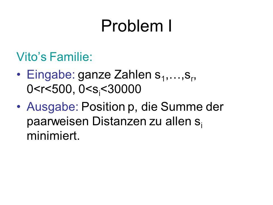 Problem I Vitos Familie: Eingabe: ganze Zahlen s 1,…,s r, 0<r<500, 0<s i <30000 Ausgabe: Position p, die Summe der paarweisen Distanzen zu allen s i m