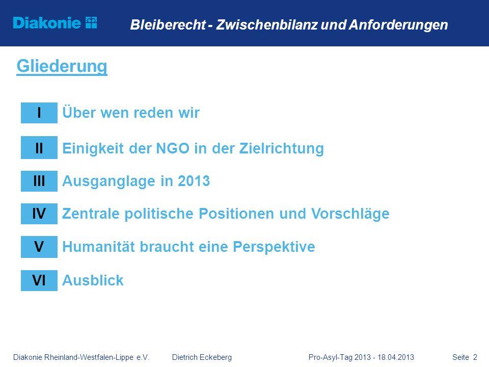 Diakonie Rheinland-Westfalen-Lippe e.V. Dietrich Eckeberg Pro-Asyl-Tag 2013 - 18.04.2013Seite 2 Bleiberecht - Zwischenbilanz und Anforderungen Glieder