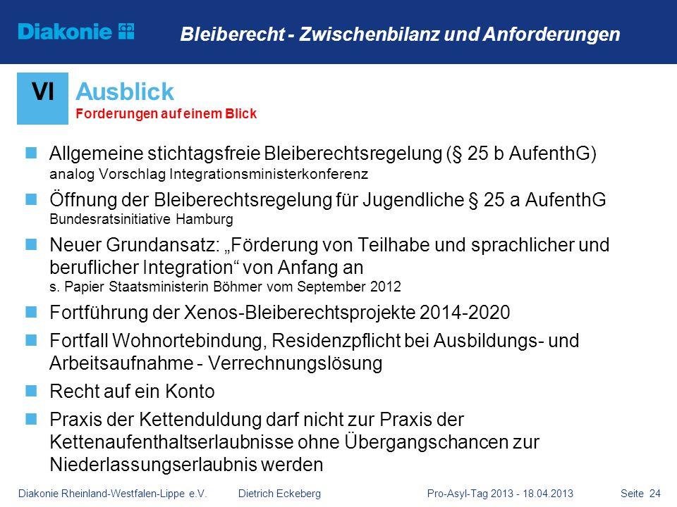 Seite 24 Allgemeine stichtagsfreie Bleiberechtsregelung (§ 25 b AufenthG) analog Vorschlag Integrationsministerkonferenz Öffnung der Bleiberechtsregel