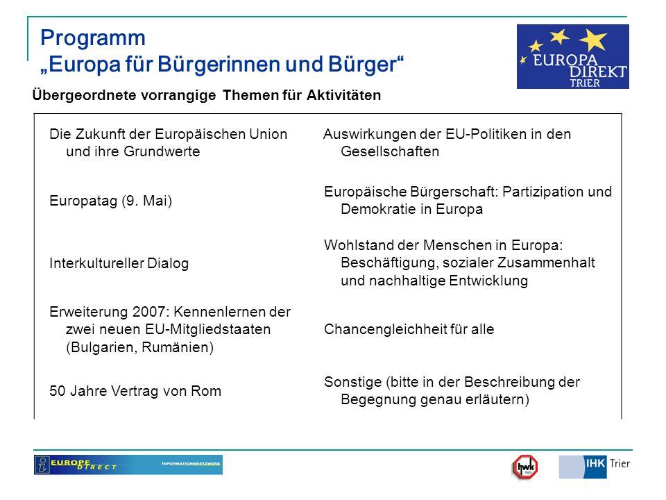 Programm Europa für Bürgerinnen und Bürger Übergeordnete vorrangige Themen für Aktivitäten Die Zukunft der Europäischen Union und ihre Grundwerte Ausw