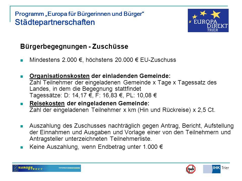 Programm Europa für Bürgerinnen und Bürger Städtepartnerschaften Bürgerbegegnungen - Zuschüsse Mindestens 2.000, höchstens 20.000 EU-Zuschuss Organisa