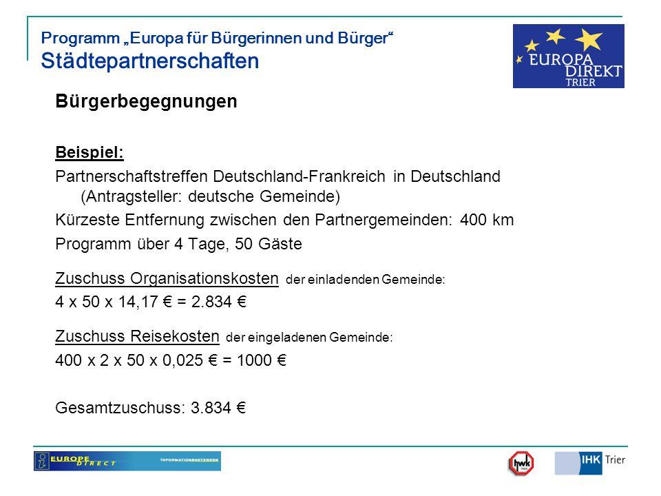 Programm Europa für Bürgerinnen und Bürger Städtepartnerschaften Bürgerbegegnungen Beispiel: Partnerschaftstreffen Deutschland-Frankreich in Deutschla