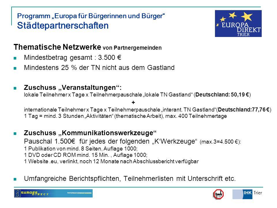 Programm Europa für Bürgerinnen und Bürger Städtepartnerschaften Thematische Netzwerke von Partnergemeinden Mindestbetrag gesamt : 3.500 Mindestens 25