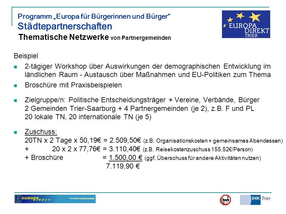 Programm Europa für Bürgerinnen und Bürger Städtepartnerschaften Thematische Netzwerke von Partnergemeinden Beispiel 2-tägiger Workshop über Auswirkun