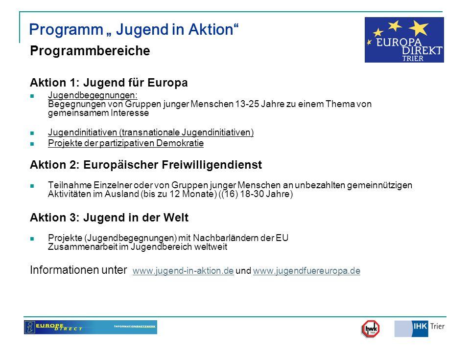 Programm Jugend in Aktion Programmbereiche Aktion 1: Jugend für Europa Jugendbegegnungen: Begegnungen von Gruppen junger Menschen 13-25 Jahre zu einem
