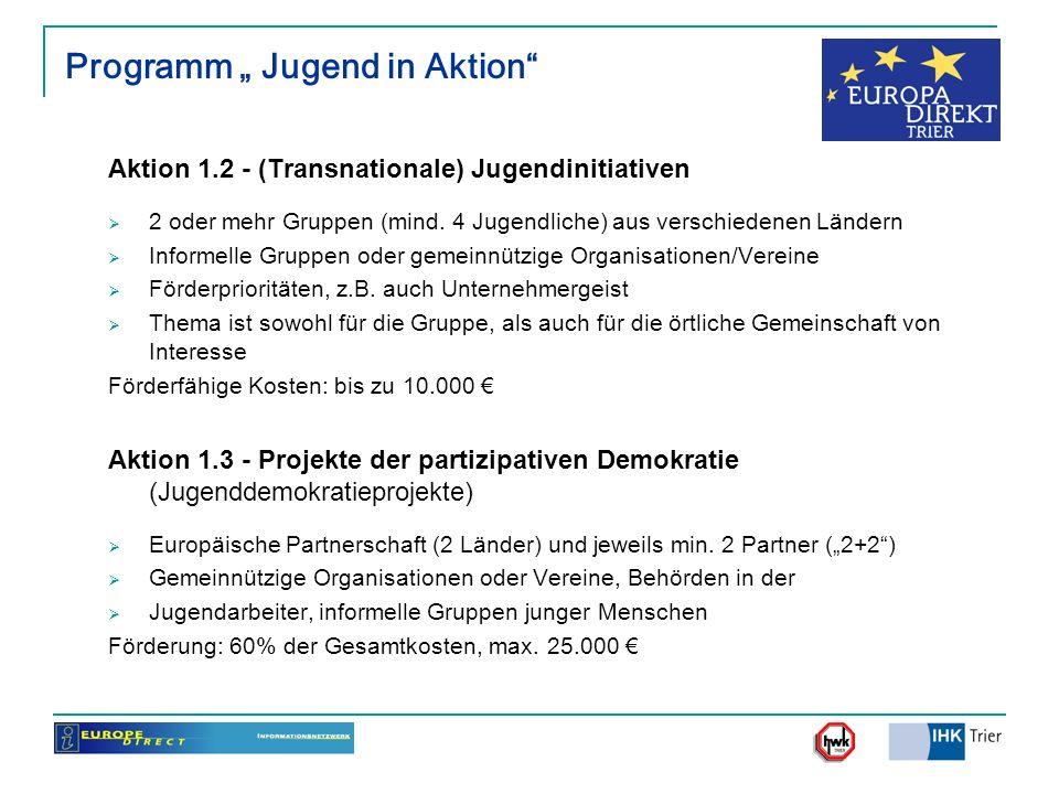 Programm Jugend in Aktion Aktion 1.2 - (Transnationale) Jugendinitiativen 2 oder mehr Gruppen (mind. 4 Jugendliche) aus verschiedenen Ländern Informel