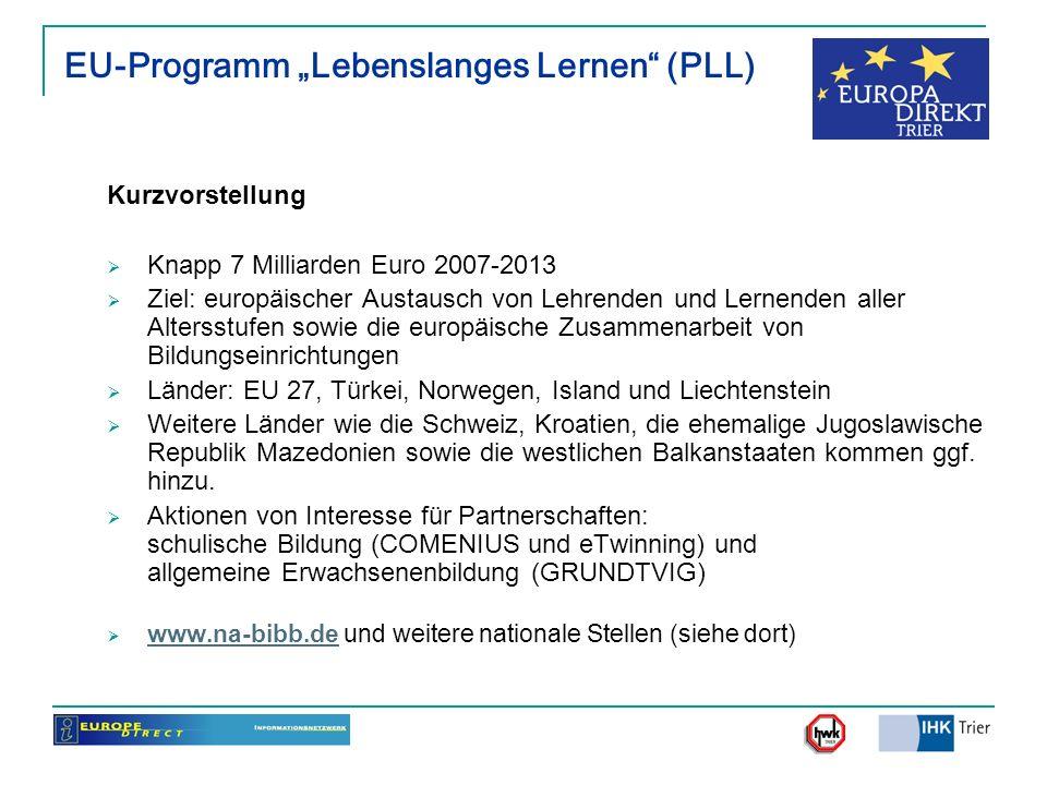 EU-Programm Lebenslanges Lernen (PLL) Kurzvorstellung Knapp 7 Milliarden Euro 2007-2013 Ziel: europäischer Austausch von Lehrenden und Lernenden aller