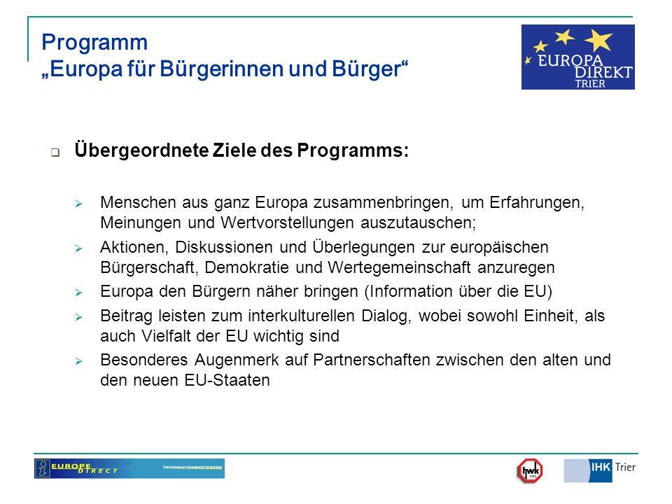 Programm Europa für Bürgerinnen und Bürger Übergeordnete Ziele des Programms: Menschen aus ganz Europa zusammenbringen, um Erfahrungen, Meinungen und