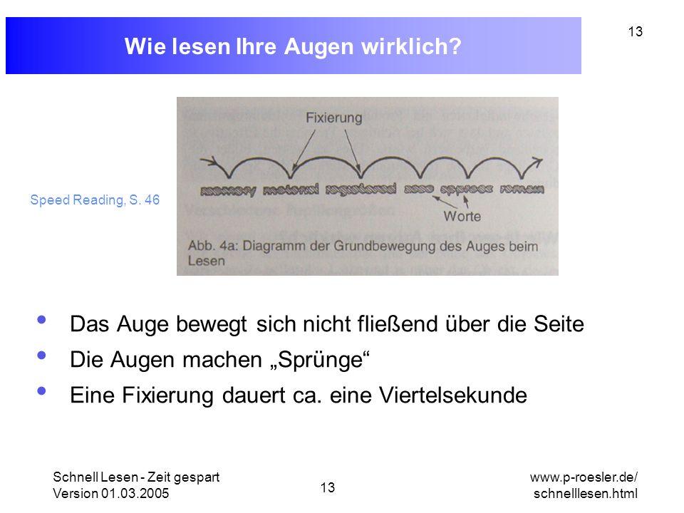 Schnell Lesen - Zeit gespart Version 01.03.2005 13 www.p-roesler.de/ schnelllesen.html 13 Wie lesen Ihre Augen wirklich? Das Auge bewegt sich nicht fl