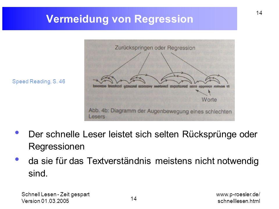 Schnell Lesen - Zeit gespart Version 01.03.2005 14 www.p-roesler.de/ schnelllesen.html 14 Vermeidung von Regression Der schnelle Leser leistet sich se