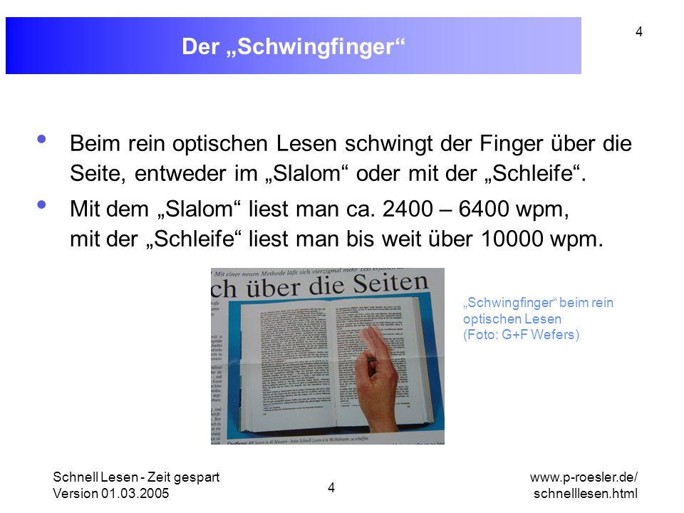 Schnell Lesen - Zeit gespart Version 01.03.2005 4 www.p-roesler.de/ schnelllesen.html 4 Der Schwingfinger Beim rein optischen Lesen schwingt der Finge