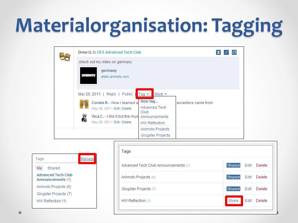 Materialorganisation: Tagging
